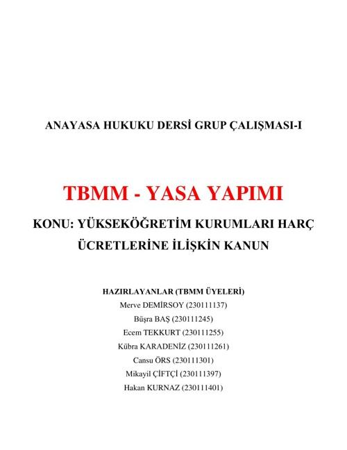 GRUP I - TBMM - YASA YAPIMI