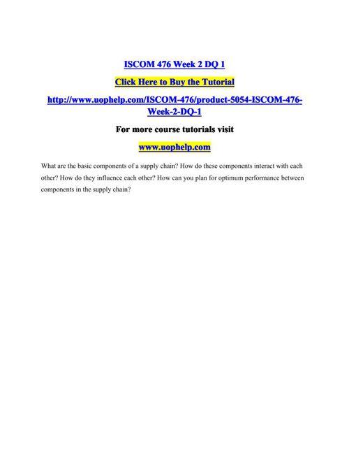 ISCOM 476 Week 2 DQ 1
