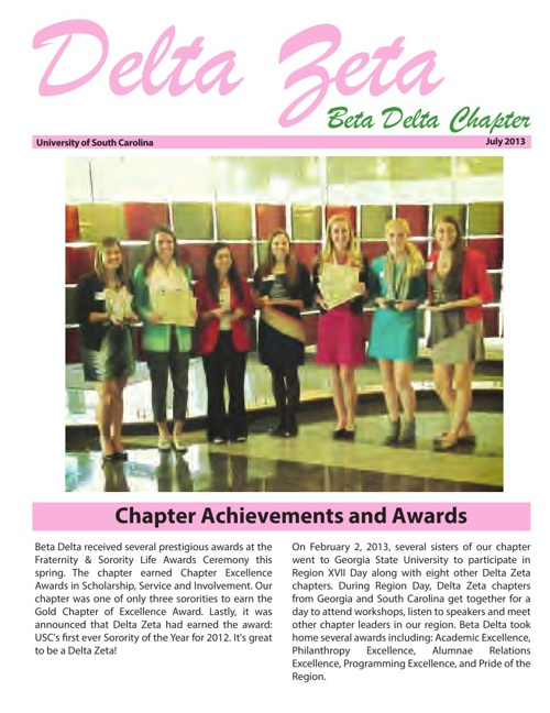 Delta Zeta Summer Newsletter
