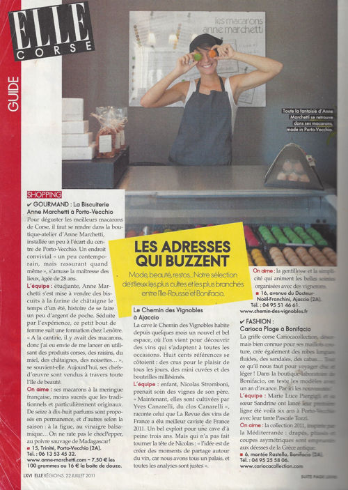 ELLE juillet 2011 (n°3421) - La biscuiterie Anne Marchetti