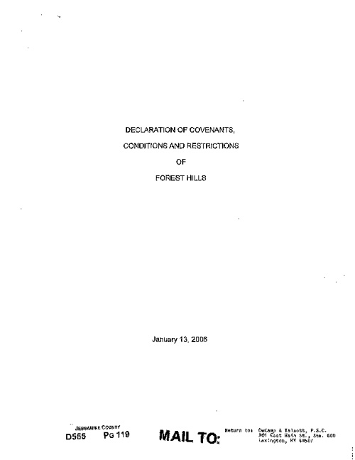 Forest Hills Estates Covenants, Conditions & Restrcitions; Plat