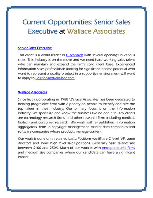 Senior Sales Executive at Wallace Associates