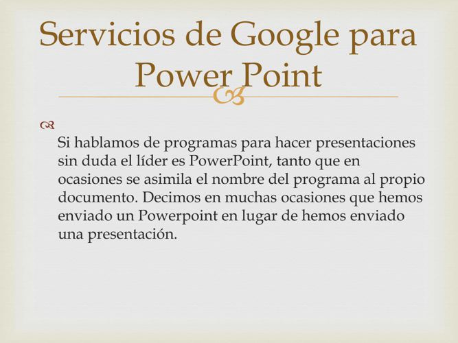 Servicios de Google para Power Point
