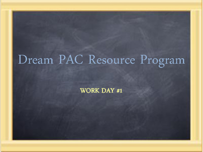 Resource Program Work Day #1: Introduction and Agenda