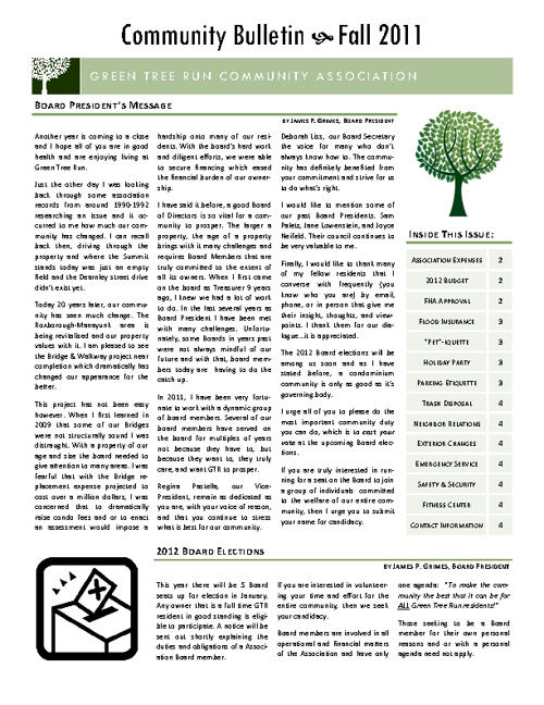 GTR Community Bulletin, Fall 2011