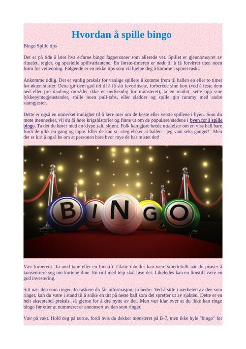 Hvordan å spille bingo