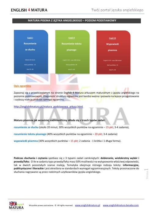 Matura podstawowa z języka angielskiego - Informator