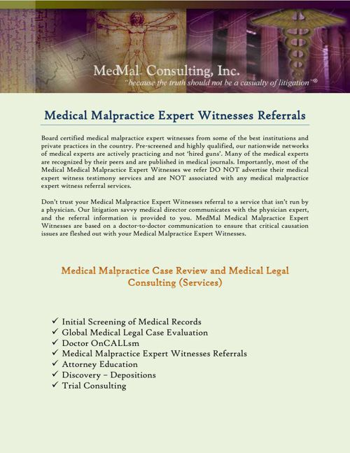 Medical Malpractice Expert Witnesses