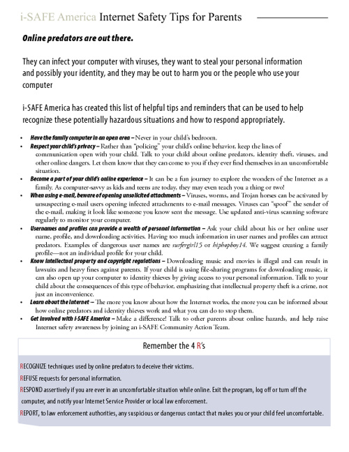 Internet Safety Tip Sheets