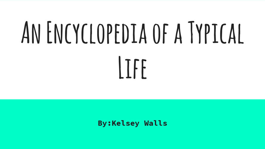 An Encyclopedia of a Typical Life part 1