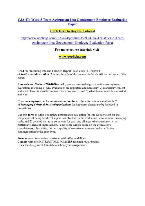 CJA 474 Week 5 Team Assignment Ima Goodenough Employee Evaluatio