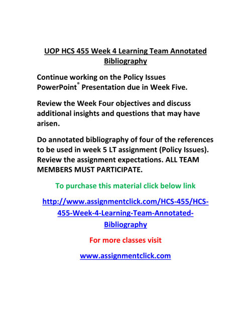 UOP HCS 455 Week 4 Learning Team Annotated Bibliography