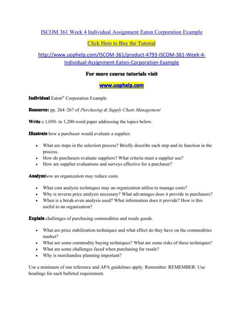 ISCOM 361 Week 4 Individual Assignment Eaton Corporation Example