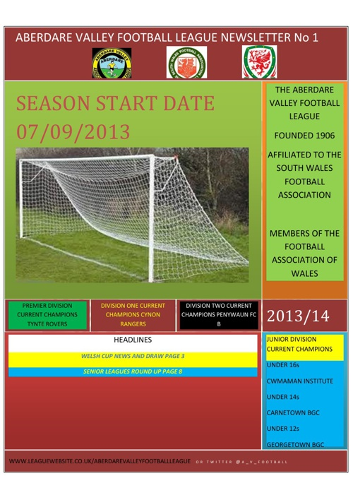 ABERDARE VALLEY FOOTBALL LEAGUE NEWSLETTER 2013/14 ISSUE 1