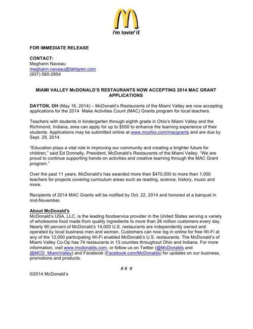 McDonald's MAC Grants Press Release