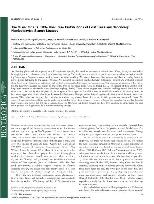 Balcazar-Vargas, M.P. et al Biotropica 2012