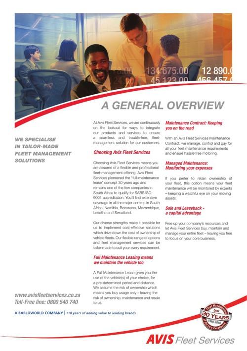 Avis Fleet Services Fact Sheets