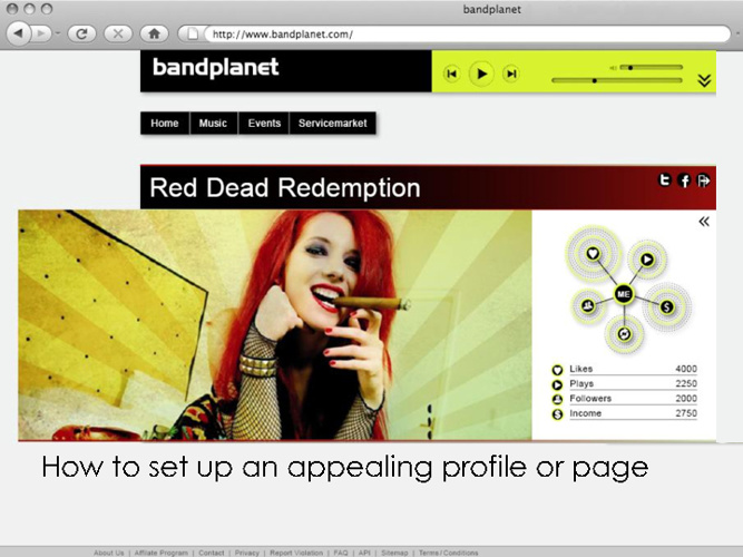 How to set up an appealing bandplanet profile or page