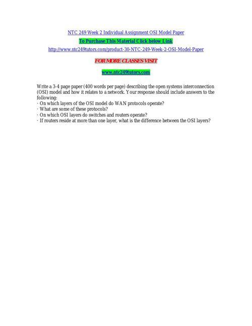 NTC 249 Week 2 Individual Assignment OSI Model Paper