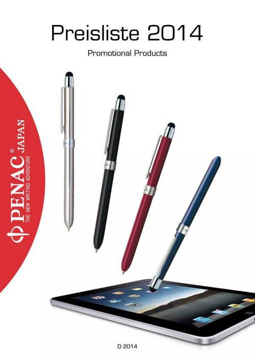 PENAC Promotional Products Preisliste 2014