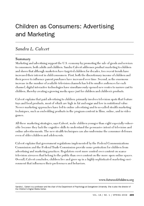 Children as Consumers: Advertising and Marketing