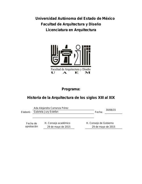 PROGRAMA HIST. DE LA ARQ. DE LOS XIII AL XIX