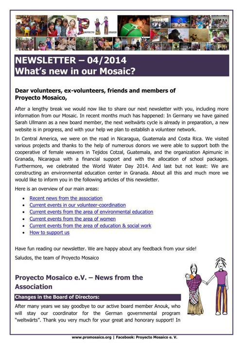 Newsletter April 2914 - What´s new in our Mosaic?