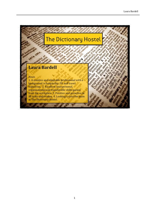 The Dictionary Hostel - Laura Bardell application & C.V.