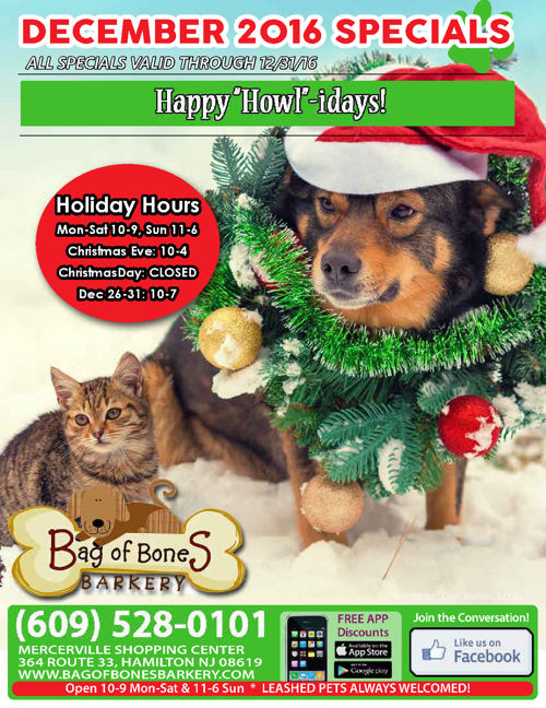 Bag of Bones Barkery December 2016 Sales & Specials