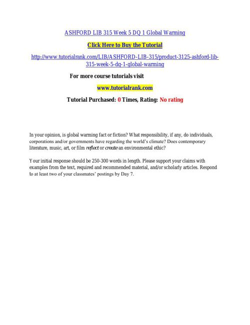 ASHFORD LIB 315 Week 5 DQ 1 Global Warming