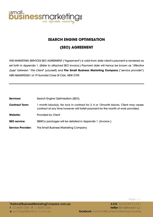 SBMCo Search Engine Optimisation (SEO) Service Agreement