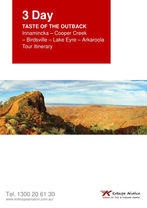 Taste of the Outback 3 day tour itinerary