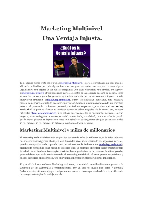 Marketing Multinivel una venyaja injusta
