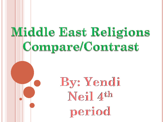 Middle East Religions Compare / Contrast - Yendi Neil 4th