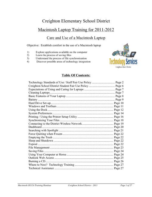 2011 Staff Laptop Training - Mac