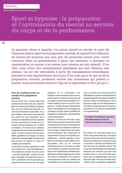 Hypnose et sport K. FINEL