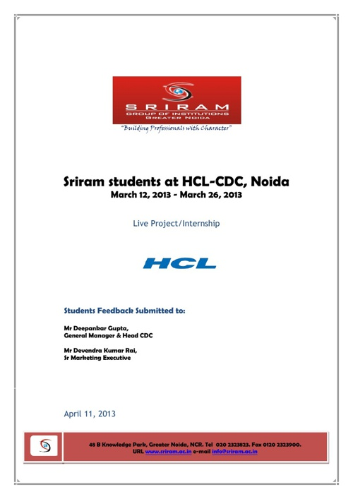 Sriram Students at HCL CDC-Live Project Internship Feedback
