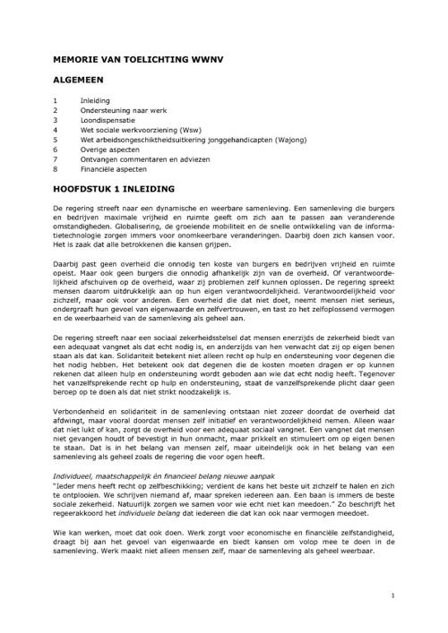 Werken naar vermogen:  memorie van toelichting 1-2-2012