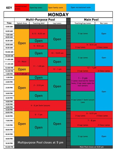 Pool Schedule Fall 2013