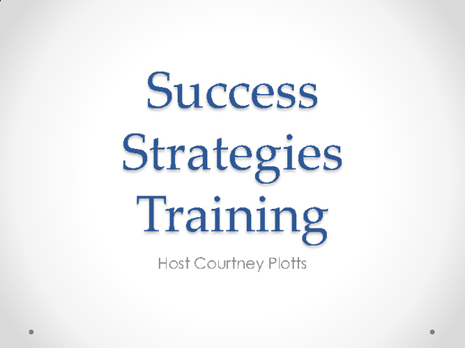 Success Strategies Training Powerpoint