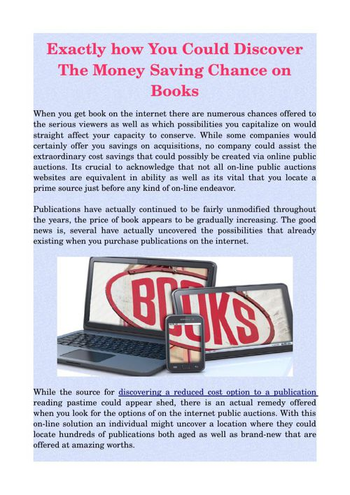 Exactly how You Could Discover The Money Saving Chance on Books
