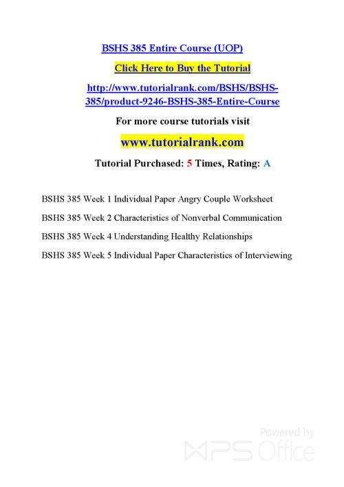 BSHS 385  Course Success Begins / tutorialrank.com