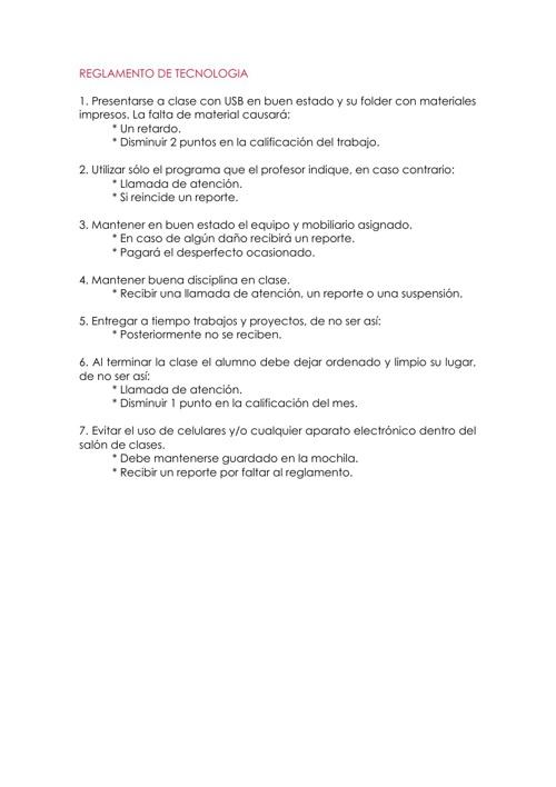 Reglamento de Tenología