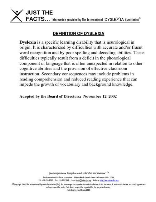 Definition of Dyslexia