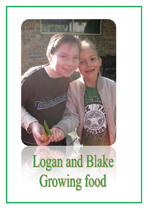 Logan and Blake growing food in the garden