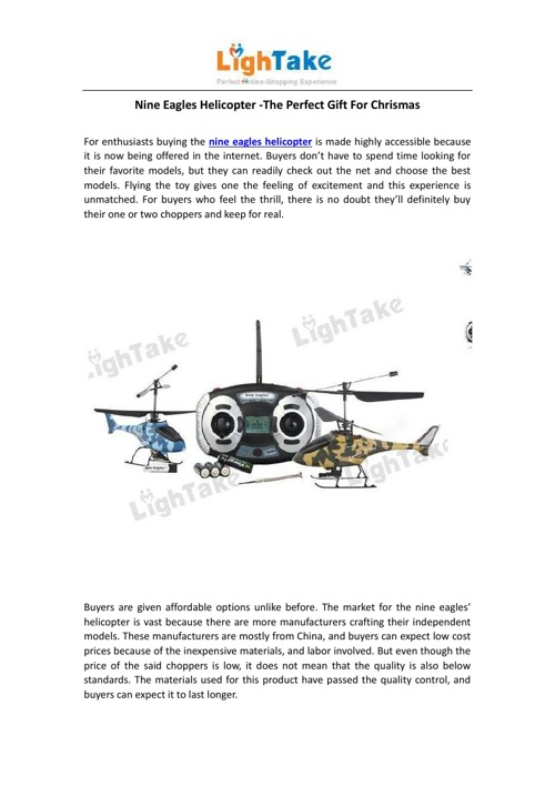 Nine Eagles Helicopter -The Perfect Gift For Chrismas