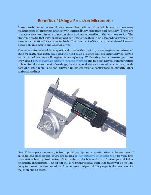 Benefits of Using a Precision Micrometer
