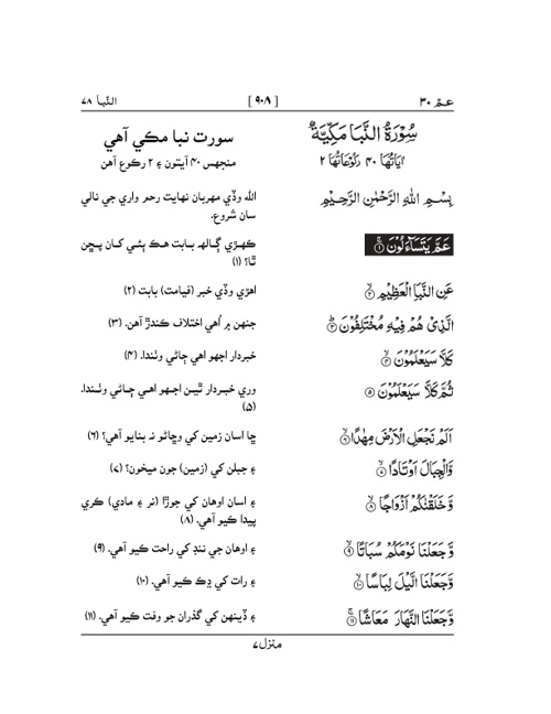 Quran with Sindhi Translation (Parah # 30)