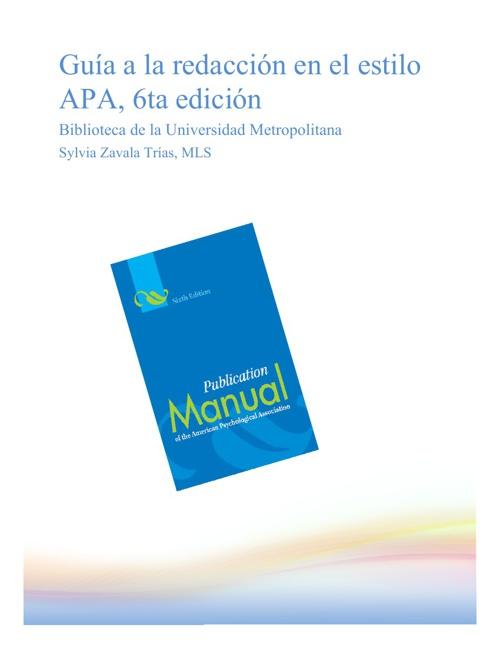 Guía a la redacción  en el estilo APA