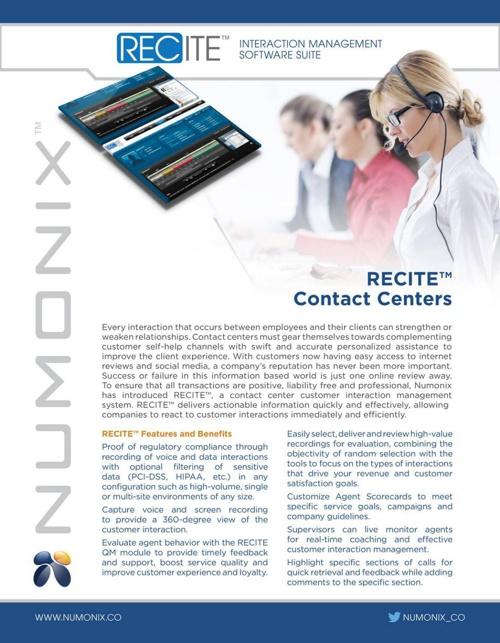 RECITE for Contact Centers